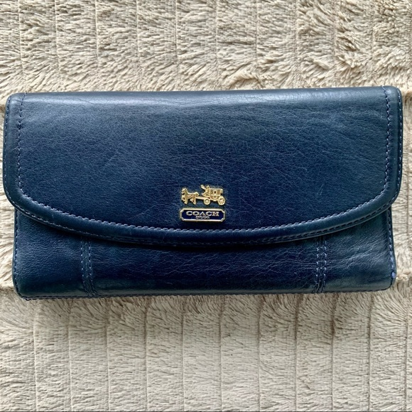 Royal Blue and Gold Coach Wallet